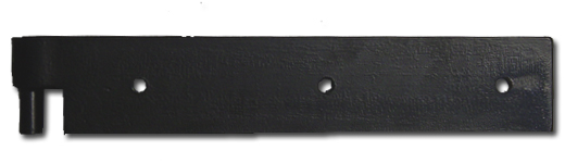 Straight Storm Hinge w/ Pin; Straight Storm Hinges are simple and durable stamped hinges. The hinges are straight steel bars as opposed to the tapered hinges. A pin is included on the barrel to be inserted into a pintle.