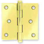 Extruded Brass Hinge; Hinges are offered in Polished Brass, Polished Chrome, Polished Nickle, Satin Brown, and Satin Black finishes.