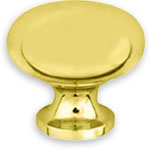 Classic Solid Brass Knob; Knobs are offered in Polished Brass, Polished Chrome, Polished Nickle, Satin Brown, and Satin Black finishes.