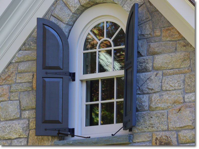 Single Raised Panel arch top window view