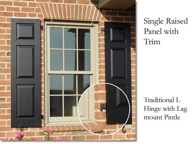 Single Raised Panel with 3/8 in. trim and Lag pintles